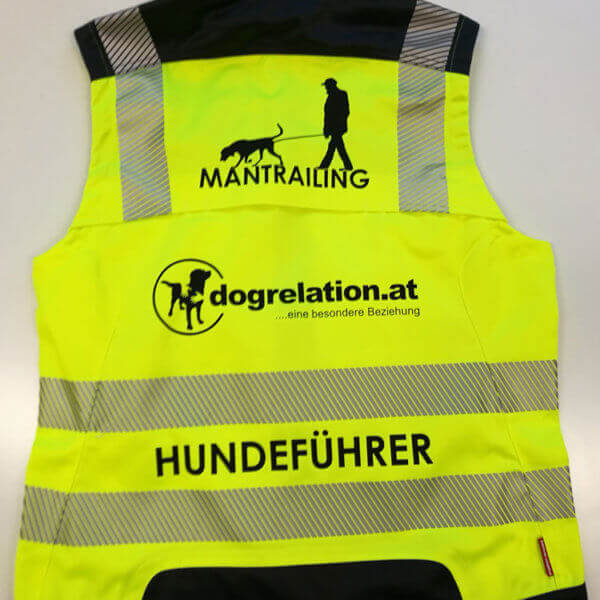 "bedruckte Warnweste ""Hundeführer"" Mantrailing dogrelation"