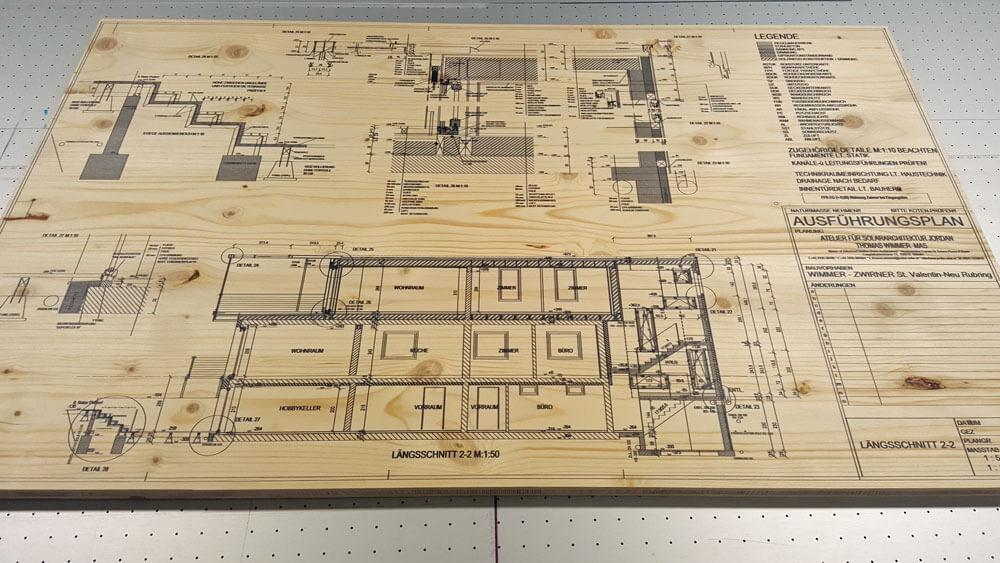 Druck auf Holzplatte 5mm dicke mit Lageplan Thomas Wimmer