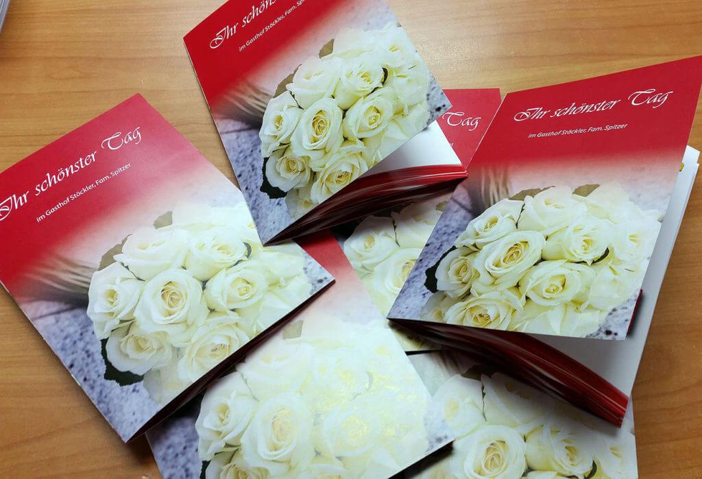 Falzflyer für die Hochzeitsinformationen des Gasthofes Stöckler aus Enns