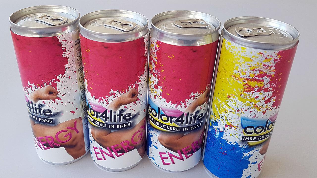 Energydosen als Ihr Werbeträger - bedruckt und schnell produziert