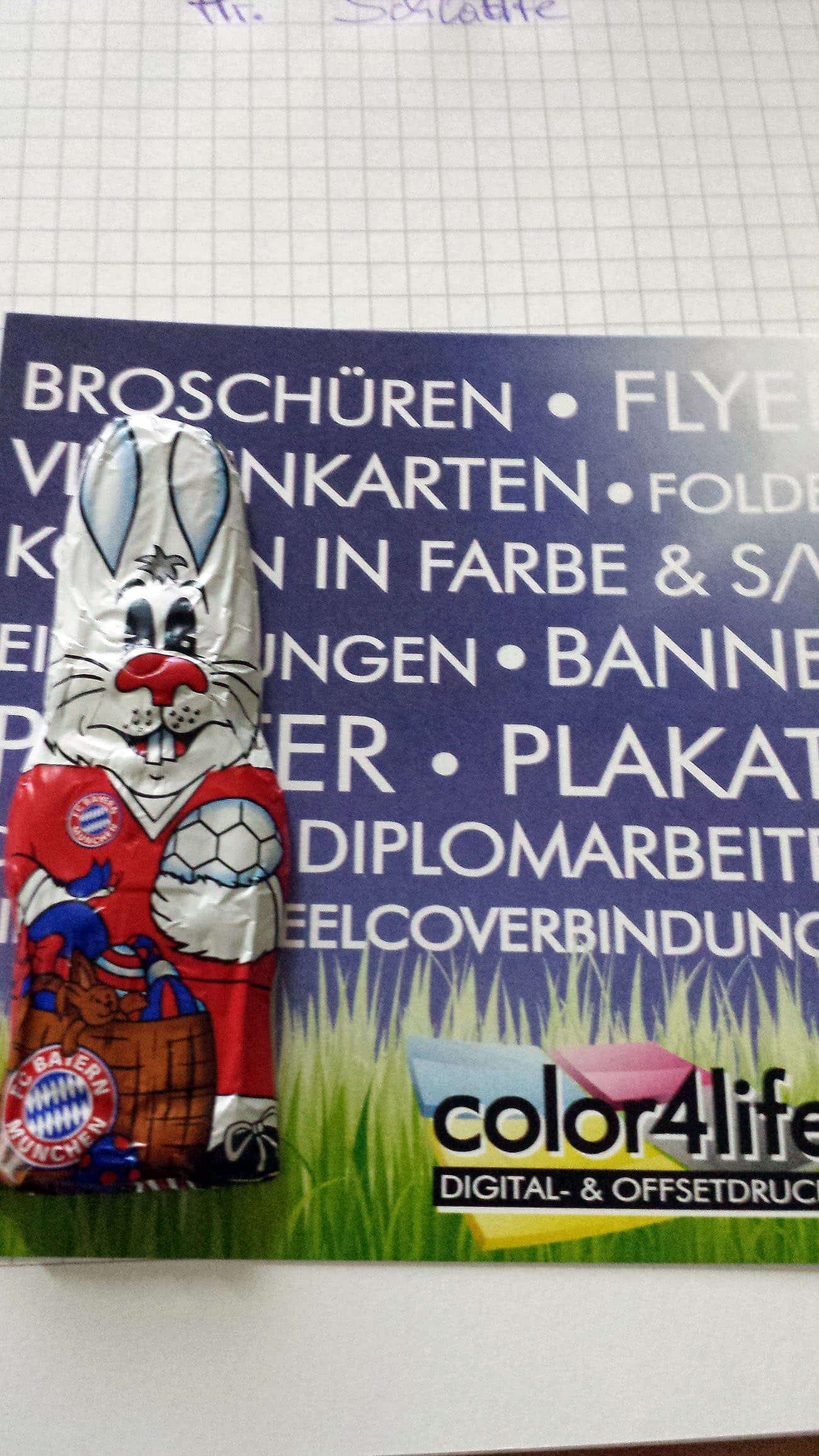 Ein Werbeflyer zu Ostern mit einerm Schokohasen