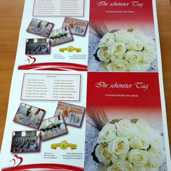 Infoflyer für den Gasthof Stöckler in Enns (für Hochzeitsmesse)