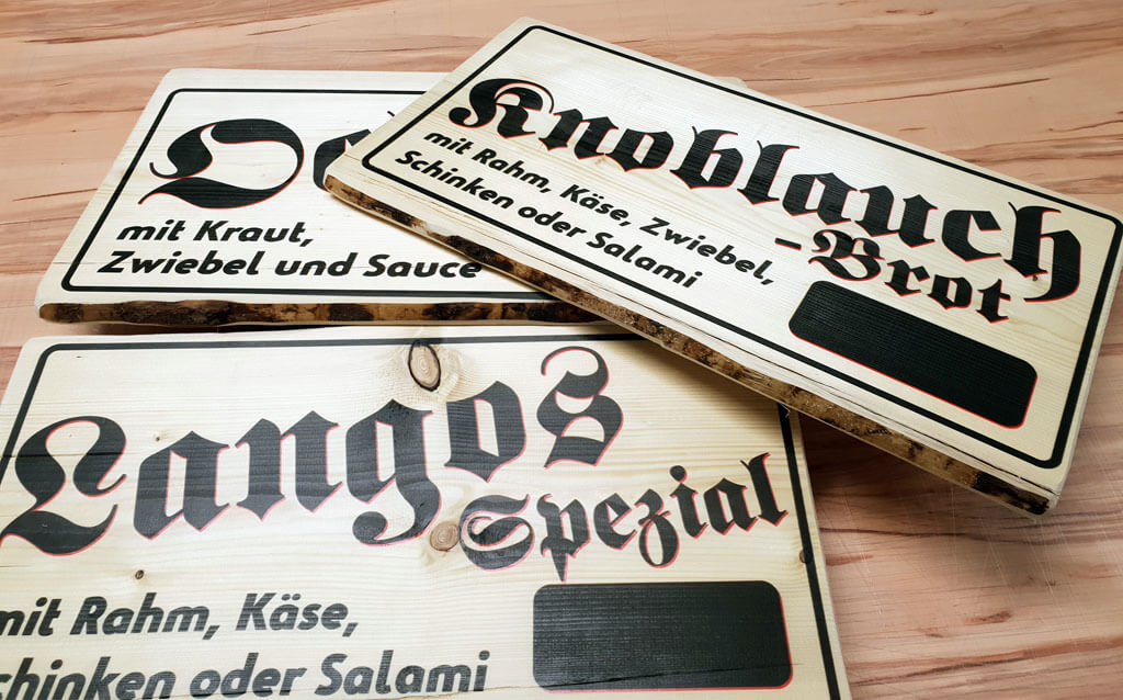 Preistafel auf Holz gedruckt 3cm dicke