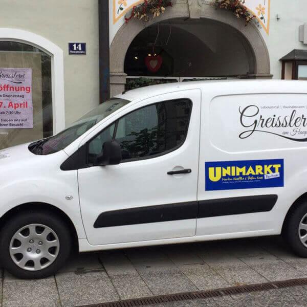 """KFZ Aussenwerbung """"Greisslerei am Hauptplatz"""" Enns und Umgebung"""