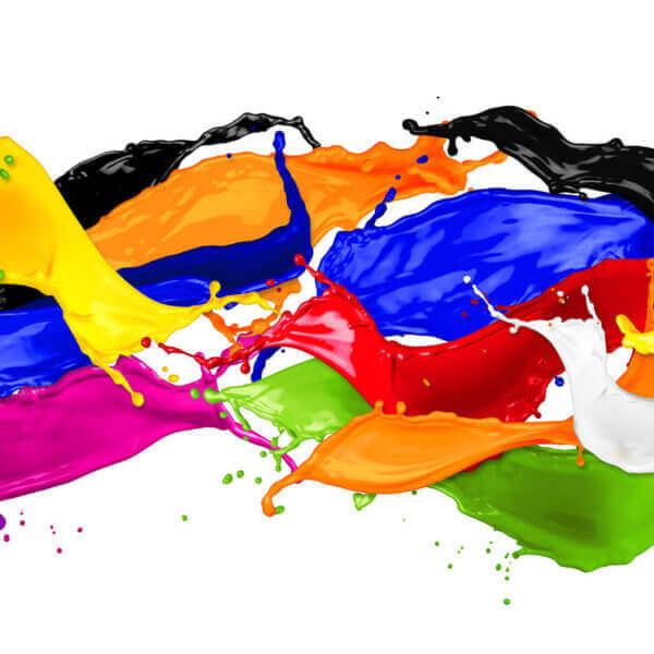 Bunte Farbschütungen als Bogenplakat ausgedruckt auf Canon Drucker