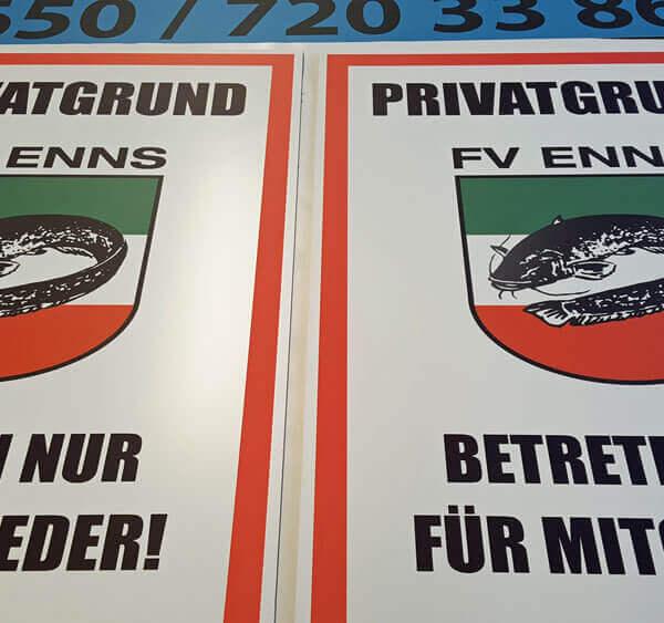 PVC Schild FV Enns Fischerei