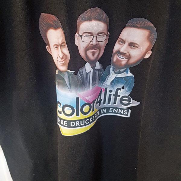 T-Shirt bedruck mit dem Team von der color4life