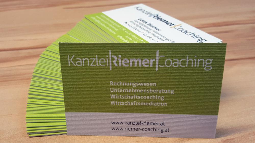 Kanzlei Riemer (Unternehmensberatung, Rechnungswesen) Enns Visitenkarten
